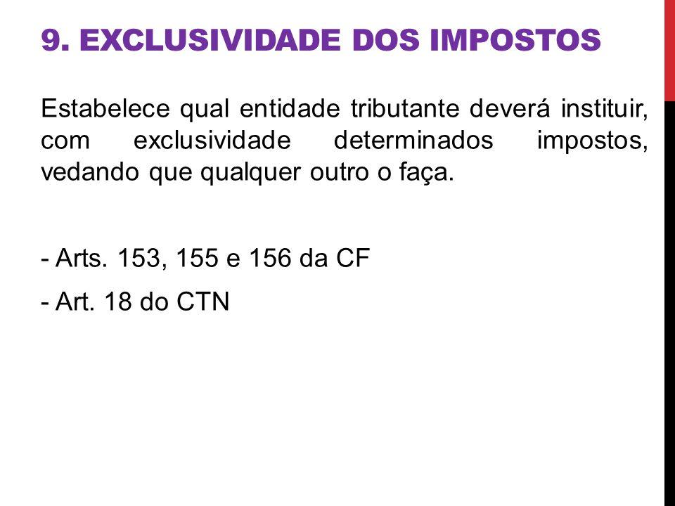 9. EXCLUSIVIDADE DOS IMPOSTOS