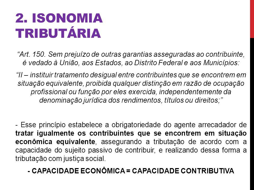 2. ISONOMIA TRIBUTÁRIA