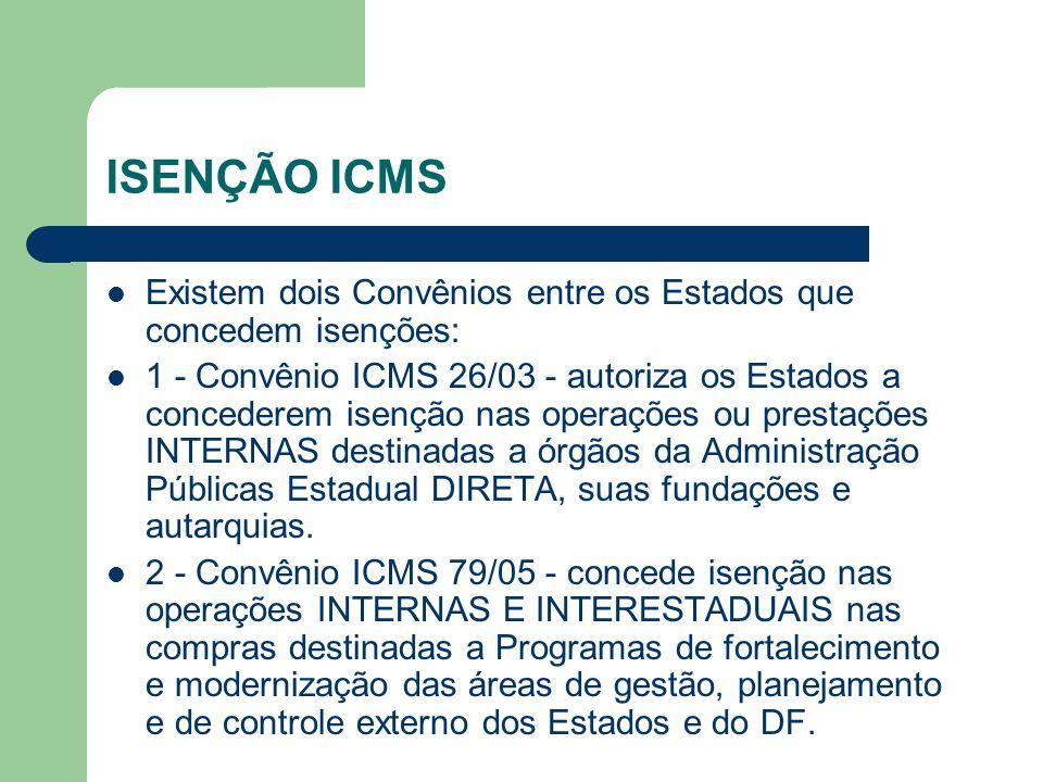 ISENÇÃO ICMS Existem dois Convênios entre os Estados que concedem isenções: