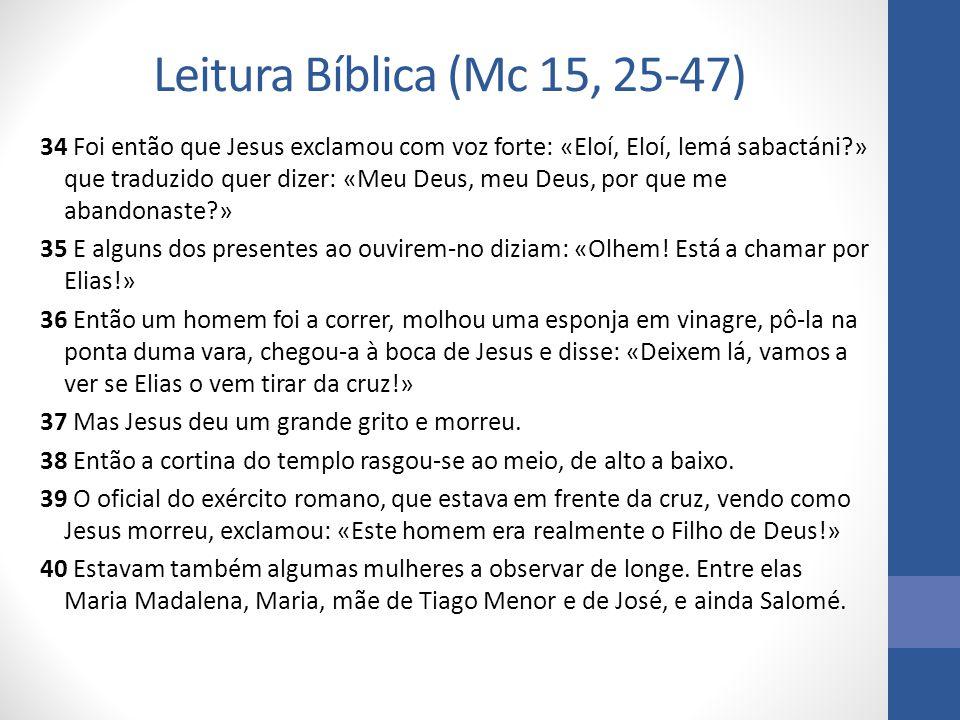 Leitura Bíblica (Mc 15, 25-47)