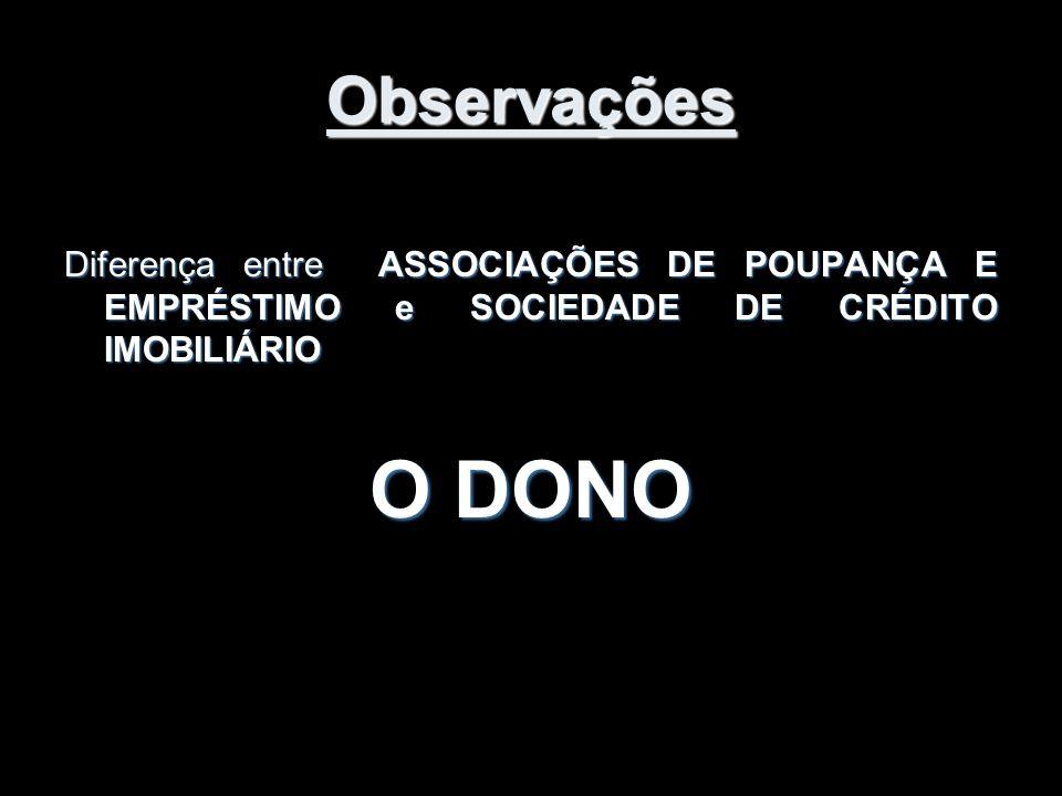 Observações Diferença entre ASSOCIAÇÕES DE POUPANÇA E EMPRÉSTIMO e SOCIEDADE DE CRÉDITO IMOBILIÁRIO.