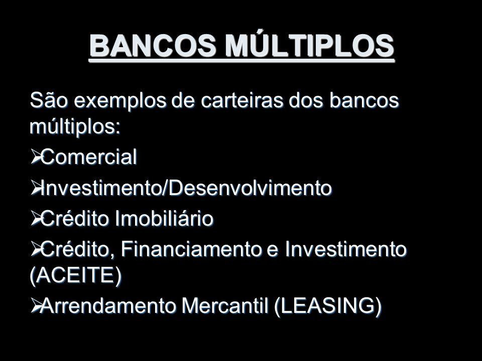 BANCOS MÚLTIPLOS São exemplos de carteiras dos bancos múltiplos: