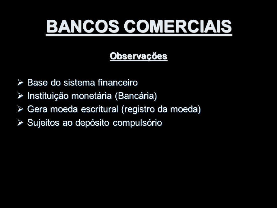 BANCOS COMERCIAIS Observações Base do sistema financeiro