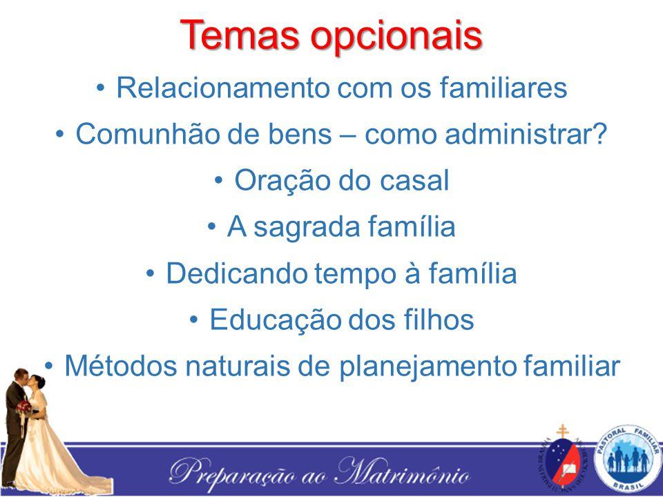 Temas opcionais Relacionamento com os familiares