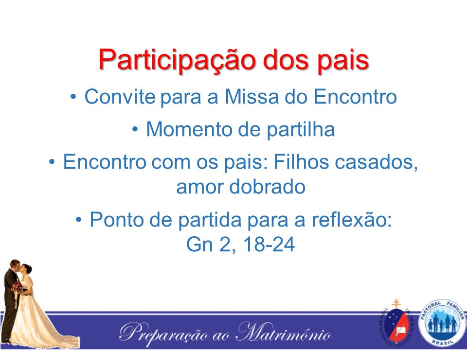 Participação dos pais Convite para a Missa do Encontro