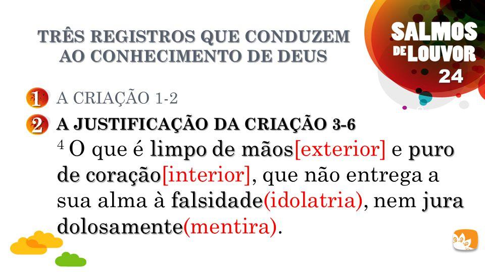 TRÊS REGISTROS QUE CONDUZEM AO CONHECIMENTO DE DEUS