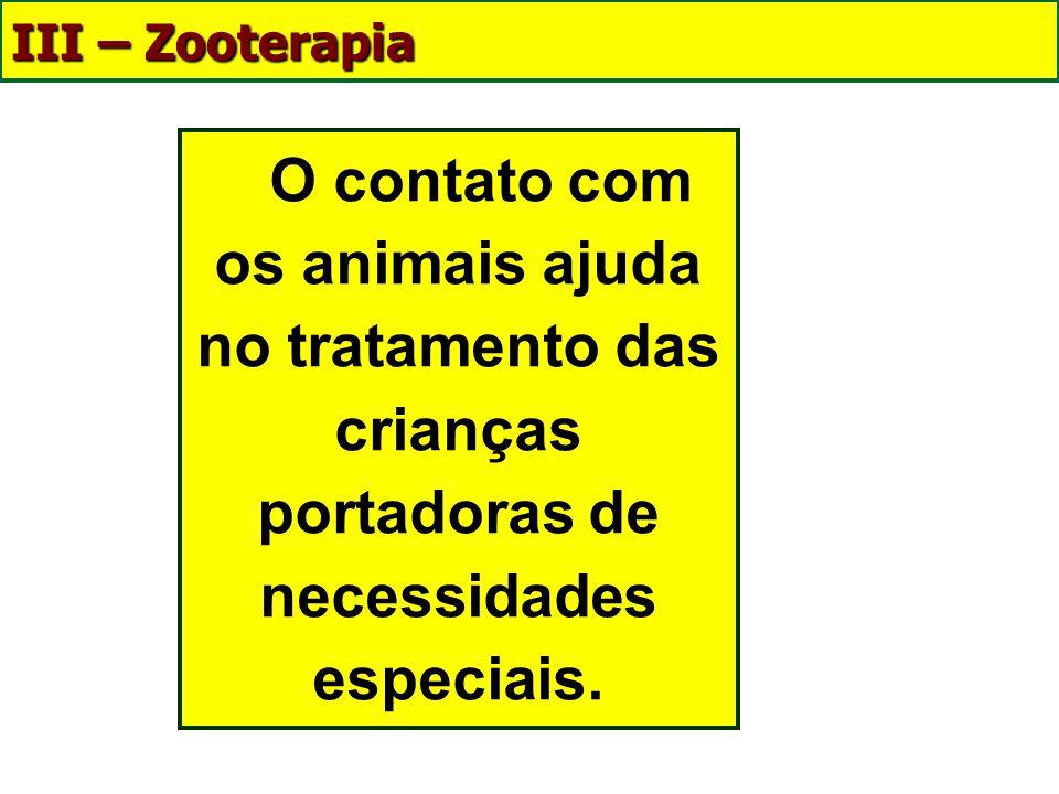 III – Zooterapia O contato com os animais ajuda no tratamento das crianças portadoras de necessidades especiais.