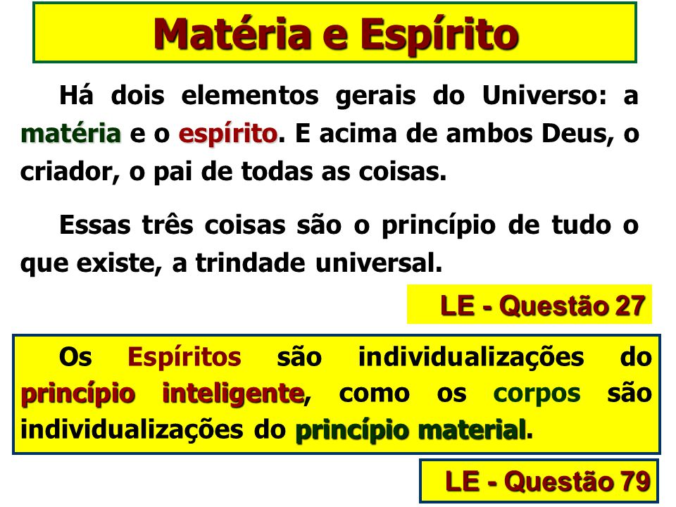 Matéria e Espírito LE - Questão 27 LE - Questão 79