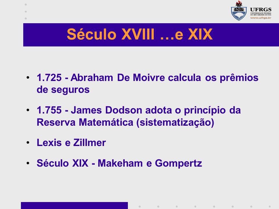 Século XVIII …e XIX 1.725 - Abraham De Moivre calcula os prêmios de seguros.