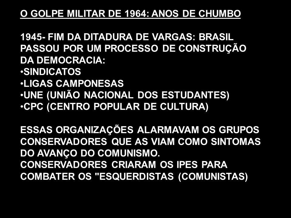 O GOLPE MILITAR DE 1964: ANOS DE CHUMBO