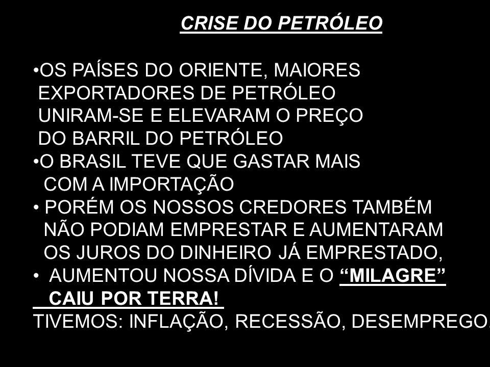 CRISE DO PETRÓLEO OS PAÍSES DO ORIENTE, MAIORES