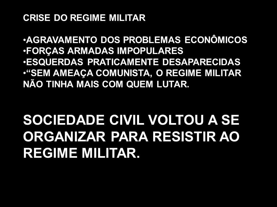SOCIEDADE CIVIL VOLTOU A SE ORGANIZAR PARA RESISTIR AO REGIME MILITAR.