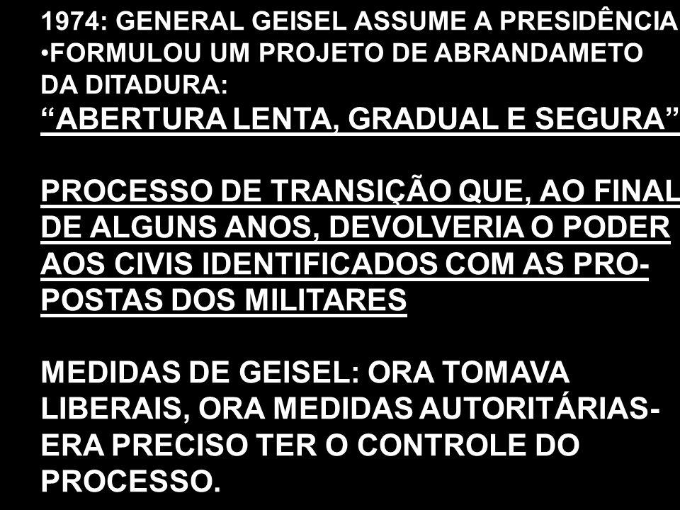 ABERTURA LENTA, GRADUAL E SEGURA PROCESSO DE TRANSIÇÃO QUE, AO FINAL