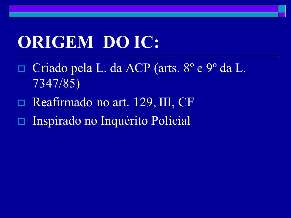 ORIGEM DO IC: Criado pela L. da ACP (arts. 8º e 9º da L. 7347/85)