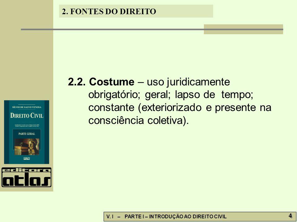 2. 2. Costume – uso juridicamente. obrigatório; geral; lapso de tempo;