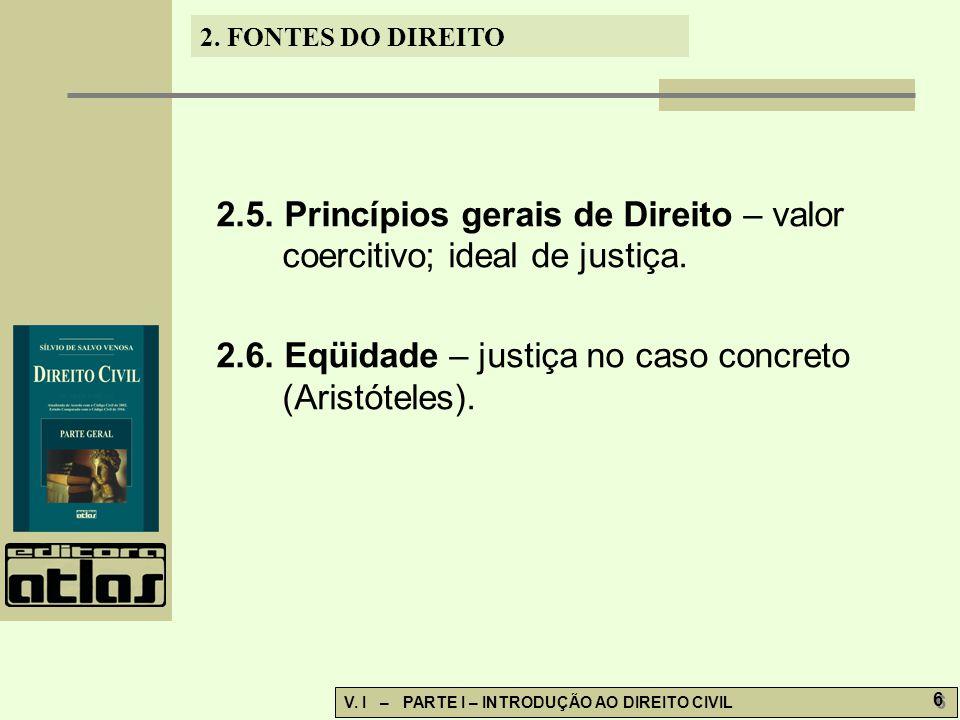 2.5. Princípios gerais de Direito – valor coercitivo; ideal de justiça.