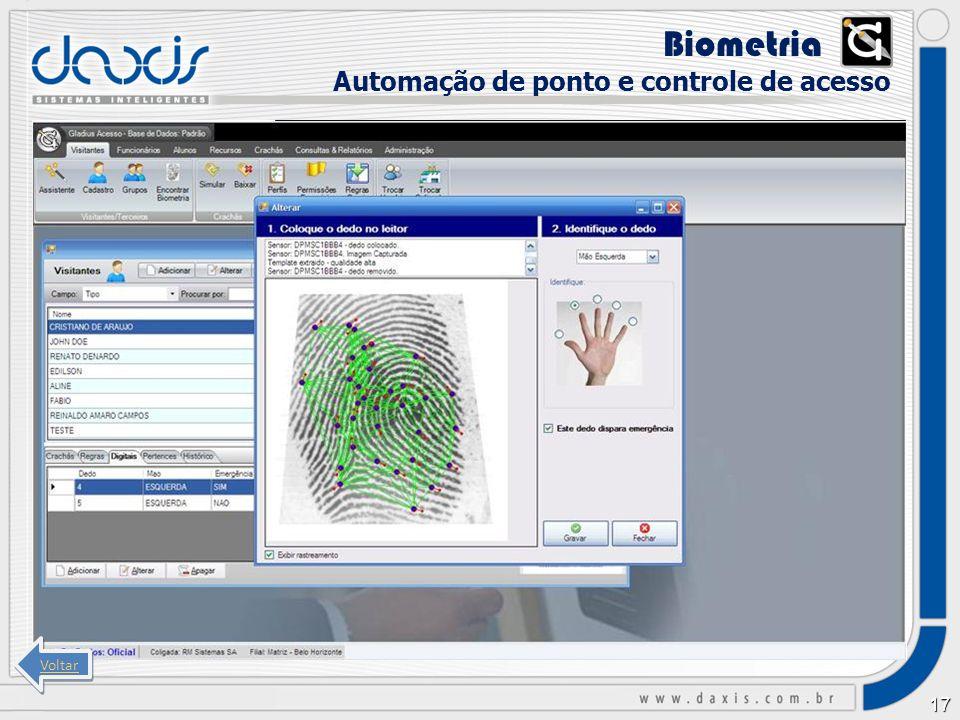 Biometria xx Automação de ponto e controle de acesso Voltar
