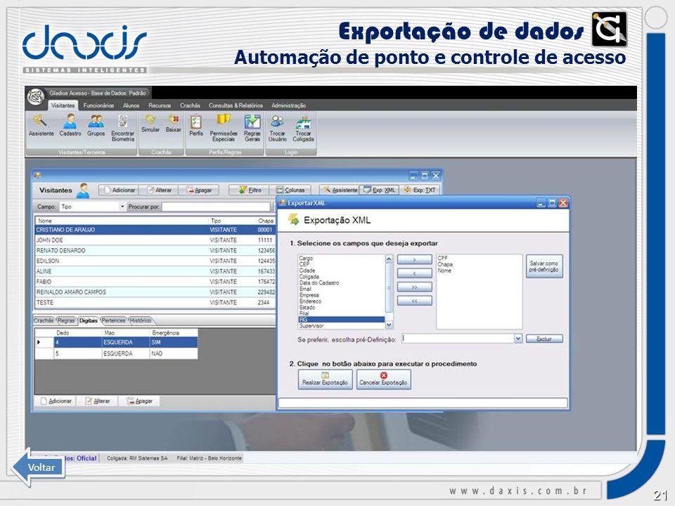 Exportação de dados xx Automação de ponto e controle de acesso Voltar