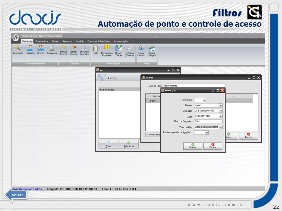 Filtros xx Automação de ponto e controle de acesso Voltar
