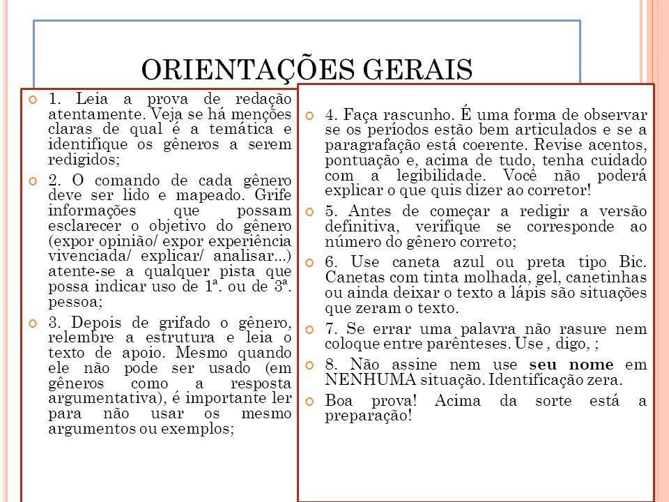 ORIENTAÇÕES GERAIS