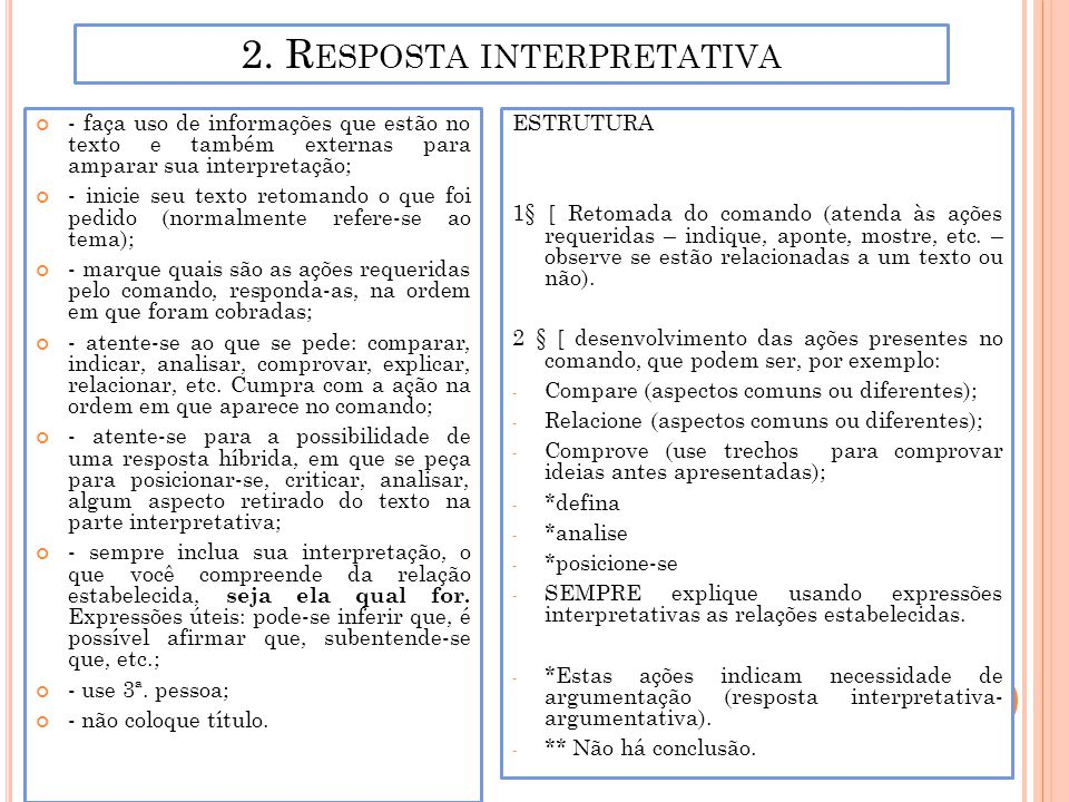 2. Resposta interpretativa