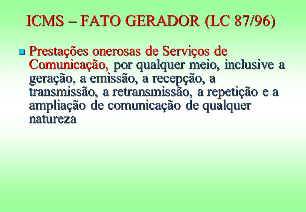 ICMS – FATO GERADOR (LC 87/96)