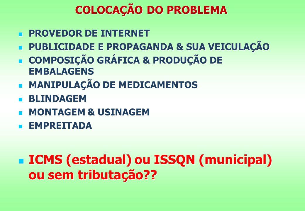 ICMS (estadual) ou ISSQN (municipal) ou sem tributação