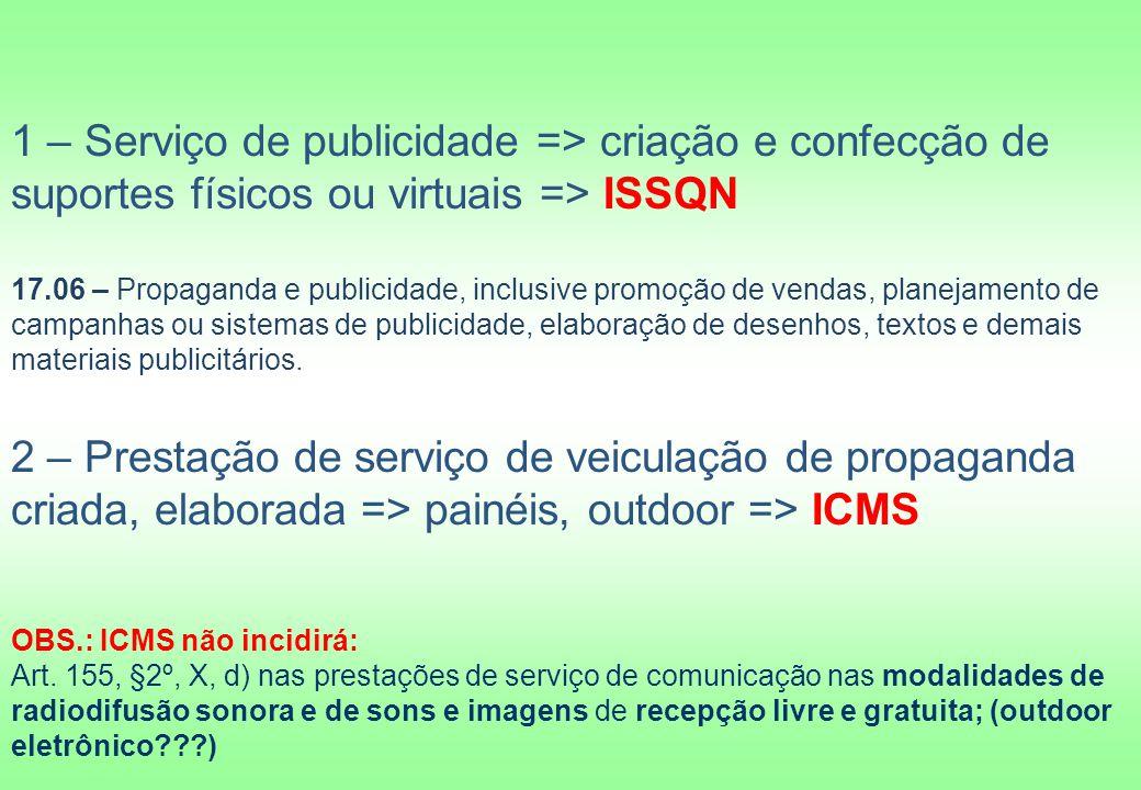 1 – Serviço de publicidade => criação e confecção de suportes físicos ou virtuais => ISSQN