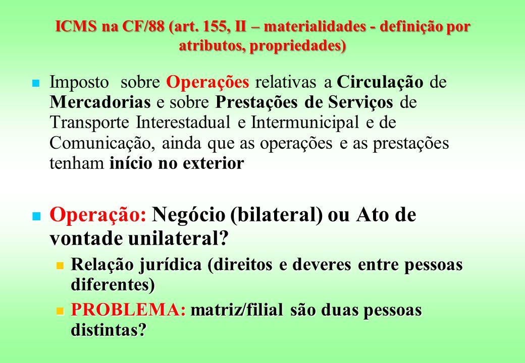 Operação: Negócio (bilateral) ou Ato de vontade unilateral