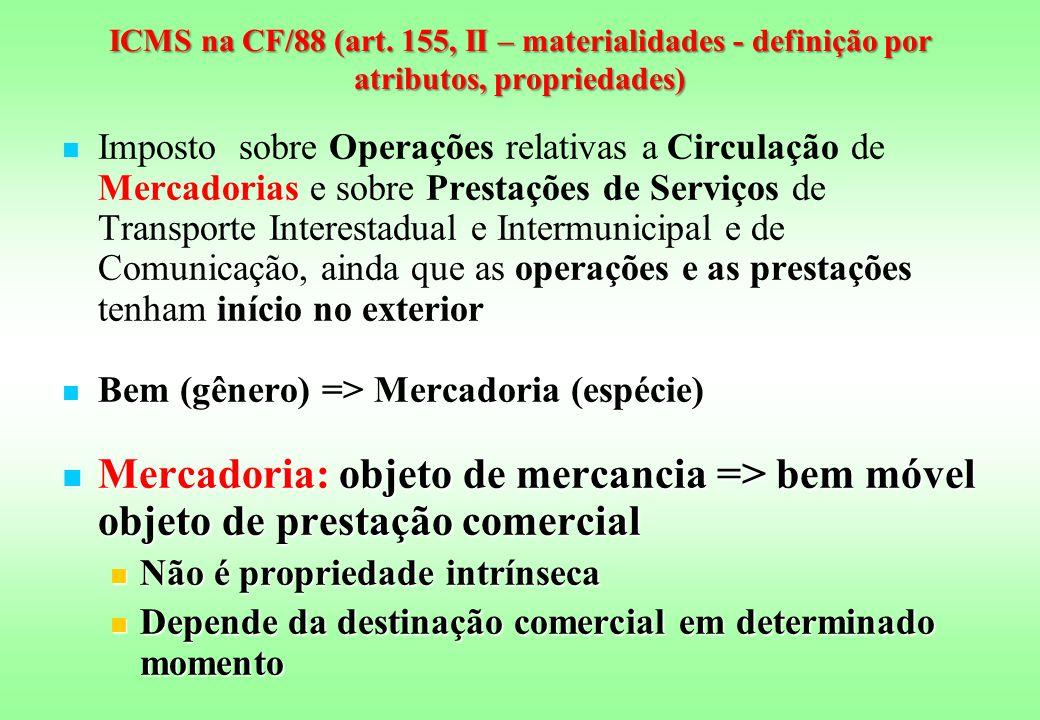 ICMS na CF/88 (art. 155, II – materialidades - definição por atributos, propriedades)