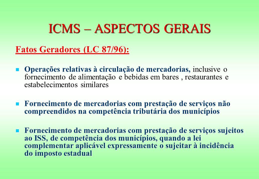 ICMS – ASPECTOS GERAIS Fatos Geradores (LC 87/96):