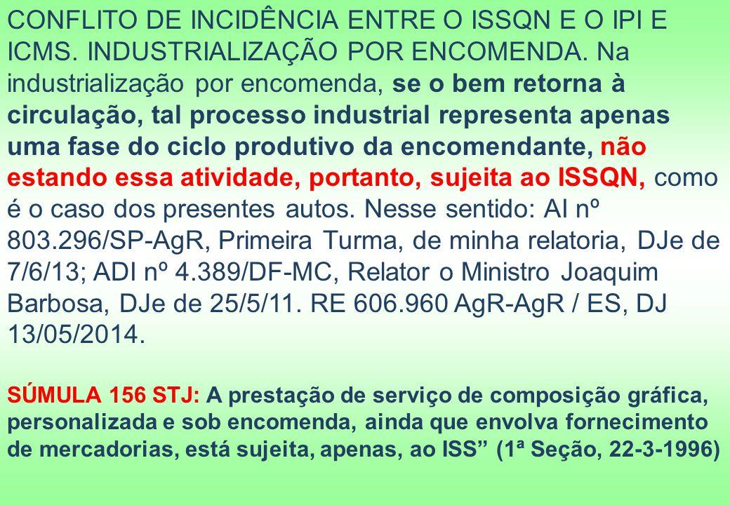 CONFLITO DE INCIDÊNCIA ENTRE O ISSQN E O IPI E ICMS
