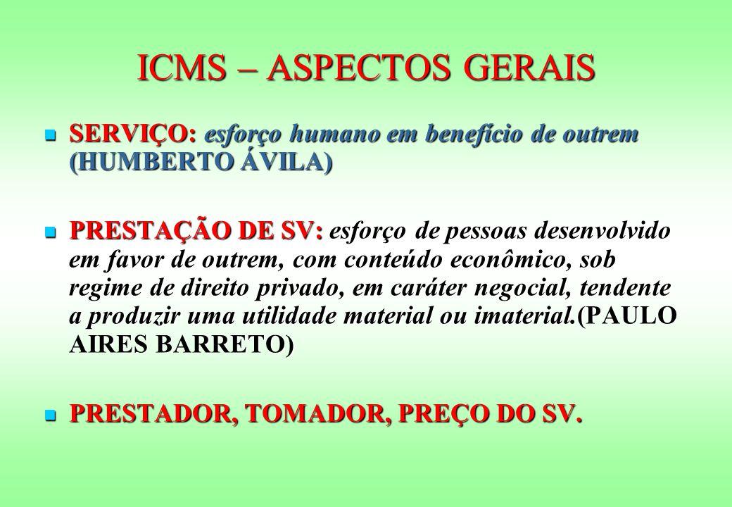ICMS – ASPECTOS GERAIS SERVIÇO: esforço humano em benefício de outrem (HUMBERTO ÁVILA)