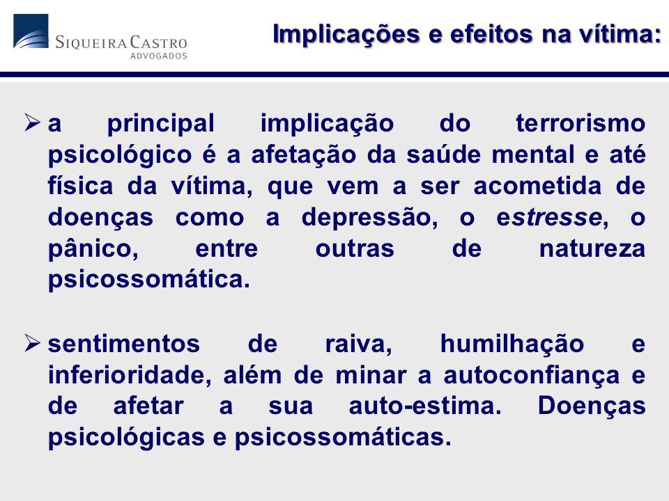 Implicações e efeitos na vítima: