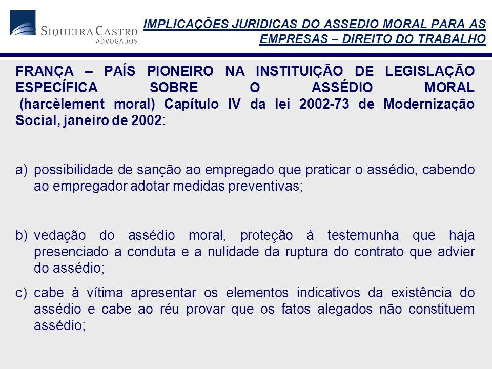 IMPLICAÇÕES JURIDICAS DO ASSEDIO MORAL PARA AS EMPRESAS – DIREITO DO TRABALHO