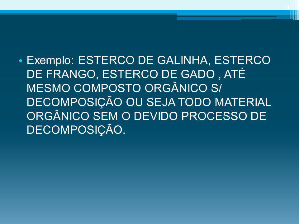 Exemplo: ESTERCO DE GALINHA, ESTERCO DE FRANGO, ESTERCO DE GADO , ATÉ MESMO COMPOSTO ORGÂNICO S/ DECOMPOSIÇÃO OU SEJA TODO MATERIAL ORGÂNICO SEM O DEVIDO PROCESSO DE DECOMPOSIÇÃO.