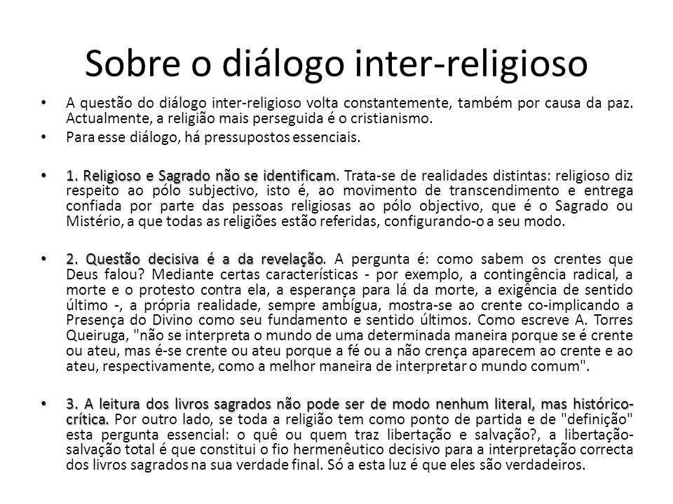 Sobre o diálogo inter-religioso
