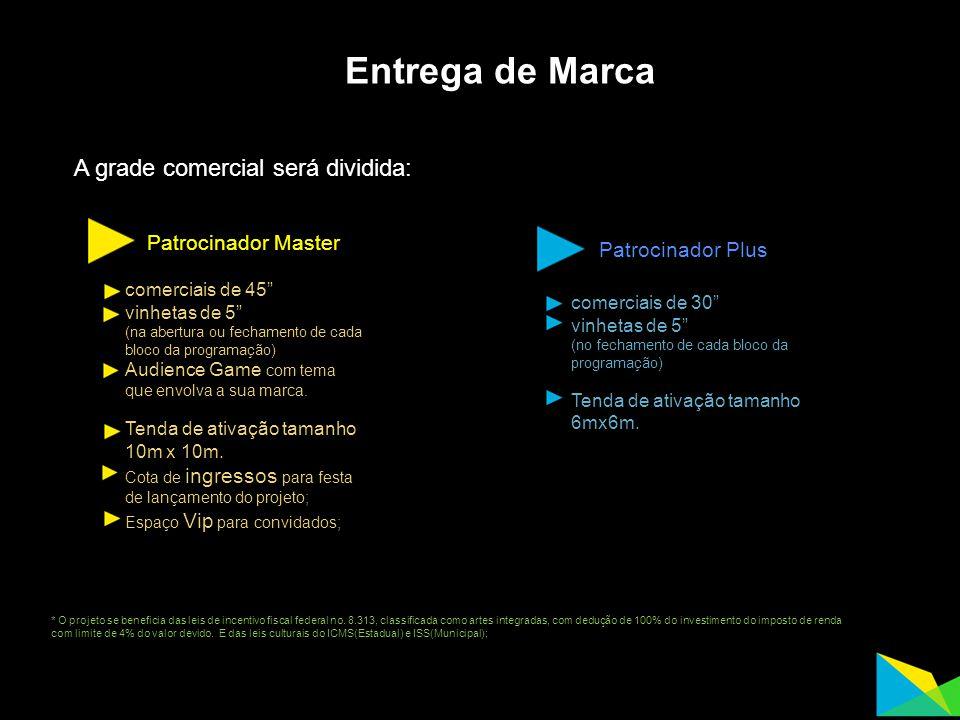 Entrega de Marca A grade comercial será dividida: Patrocinador Master