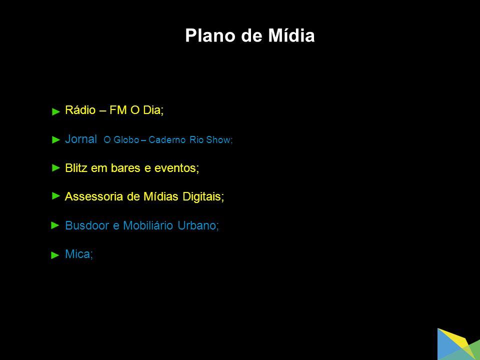 Plano de Mídia Rádio – FM O Dia; Jornal O Globo – Caderno Rio Show;