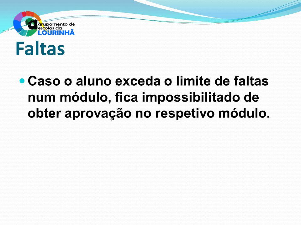 Faltas Caso o aluno exceda o limite de faltas num módulo, fica impossibilitado de obter aprovação no respetivo módulo.