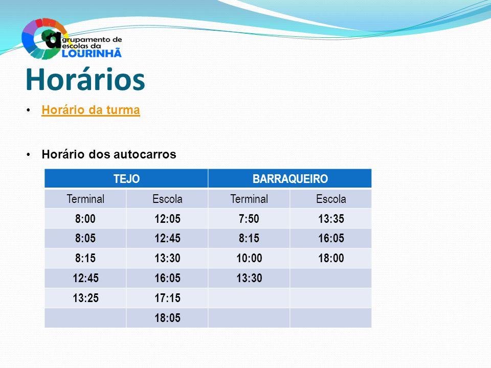 Horários Horário da turma Horário dos autocarros TEJO BARRAQUEIRO