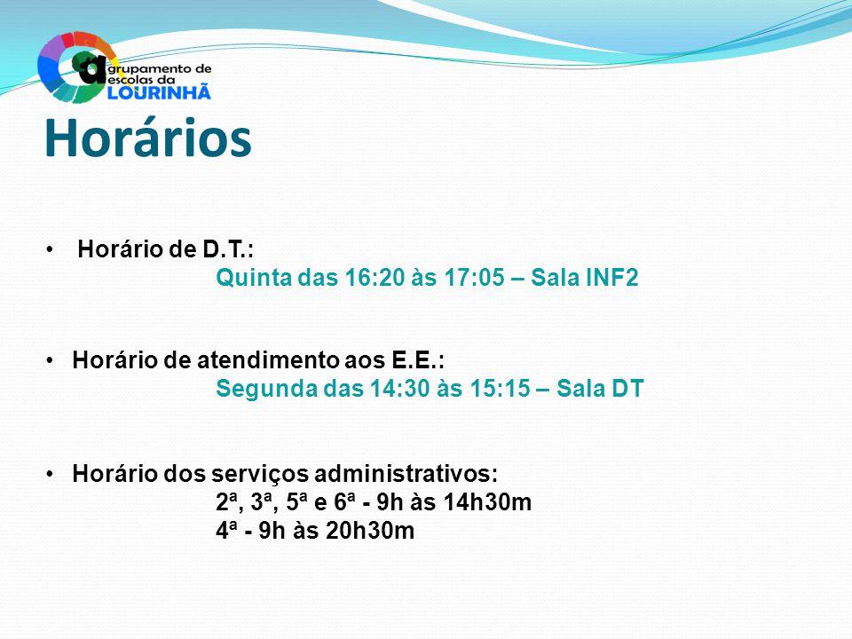 Horários Horário de D.T.: Quinta das 16:20 às 17:05 – Sala INF2
