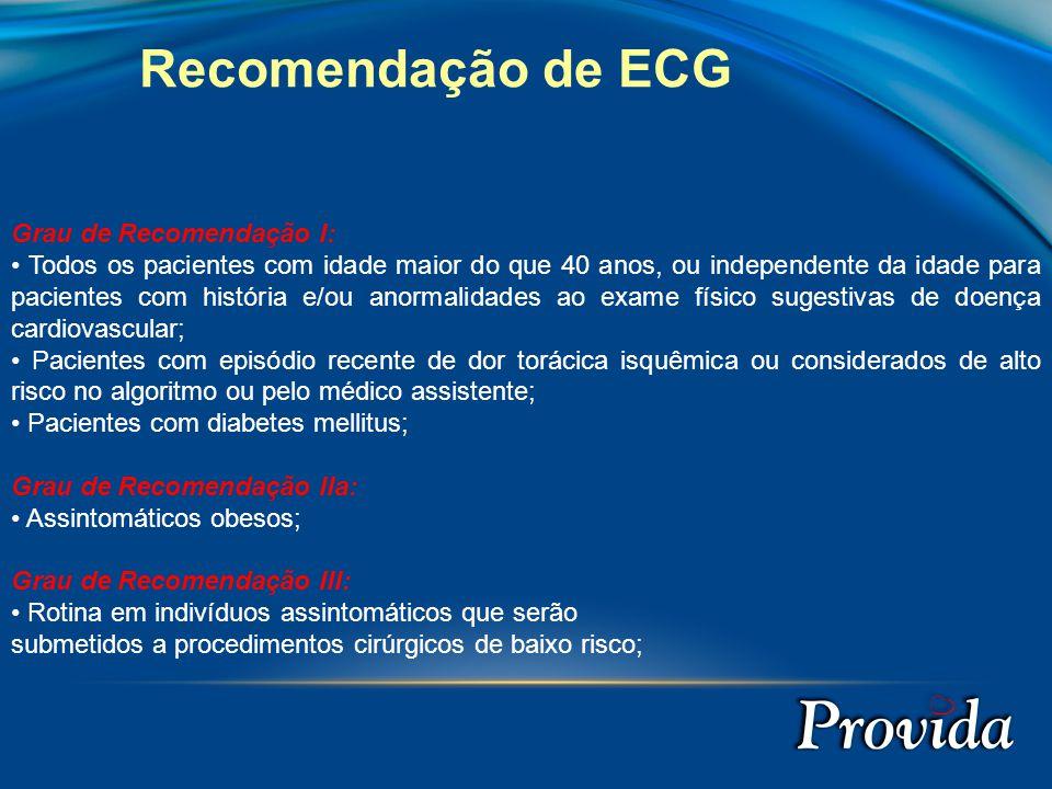 Recomendação de ECG Grau de Recomendação I: