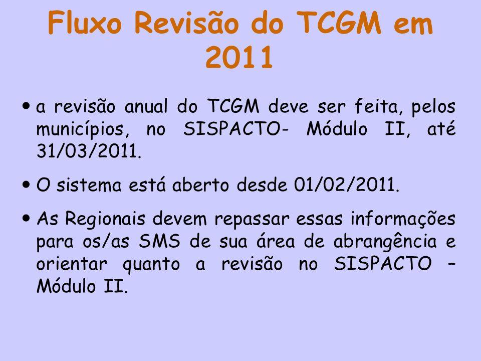 Fluxo Revisão do TCGM em 2011