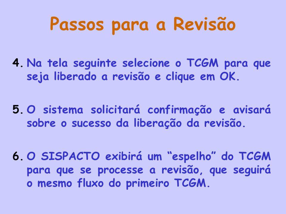 Passos para a Revisão Na tela seguinte selecione o TCGM para que seja liberado a revisão e clique em OK.