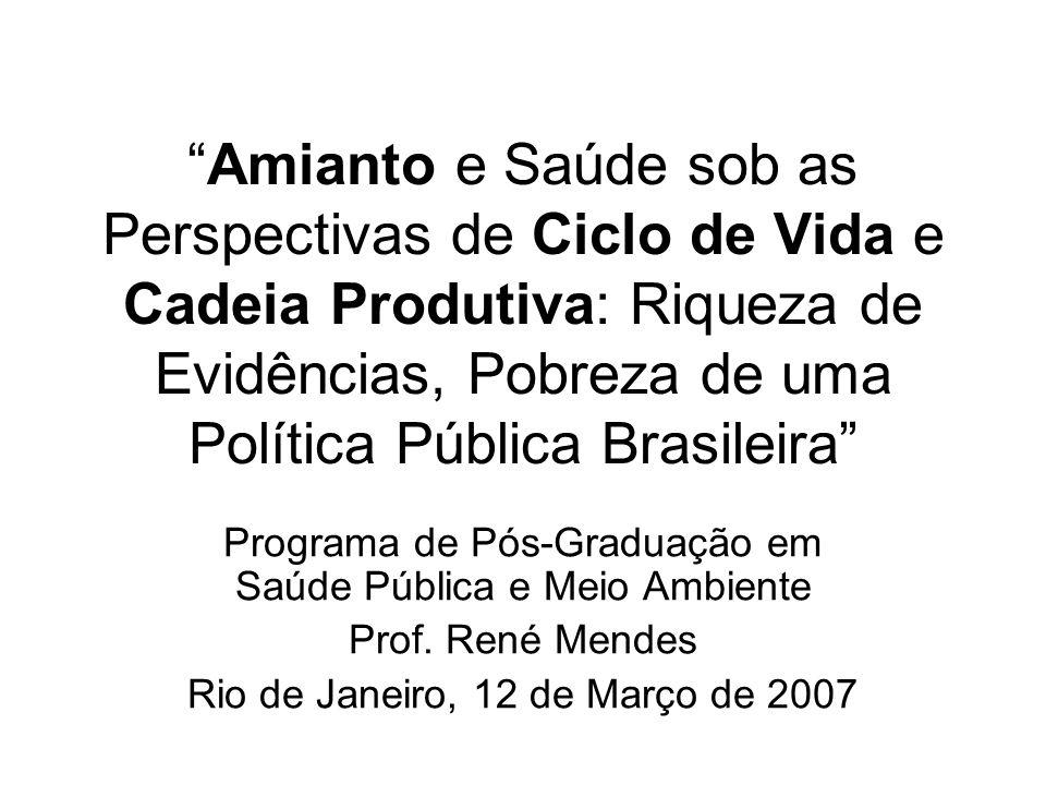 Amianto e Saúde sob as Perspectivas de Ciclo de Vida e Cadeia Produtiva: Riqueza de Evidências, Pobreza de uma Política Pública Brasileira