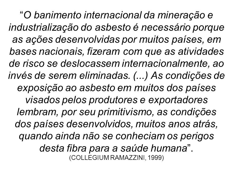 O banimento internacional da mineração e industrialização do asbesto é necessário porque as ações desenvolvidas por muitos países, em bases nacionais, fizeram com que as atividades de risco se deslocassem internacionalmente, ao invés de serem eliminadas.