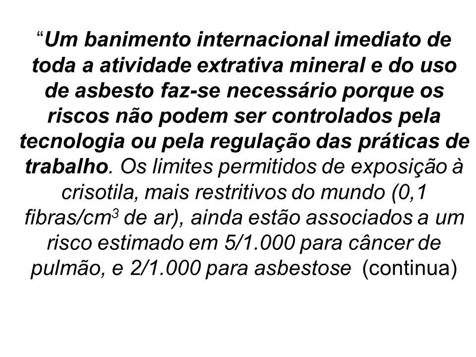 Um banimento internacional imediato de toda a atividade extrativa mineral e do uso de asbesto faz-se necessário porque os riscos não podem ser controlados pela tecnologia ou pela regulação das práticas de trabalho.