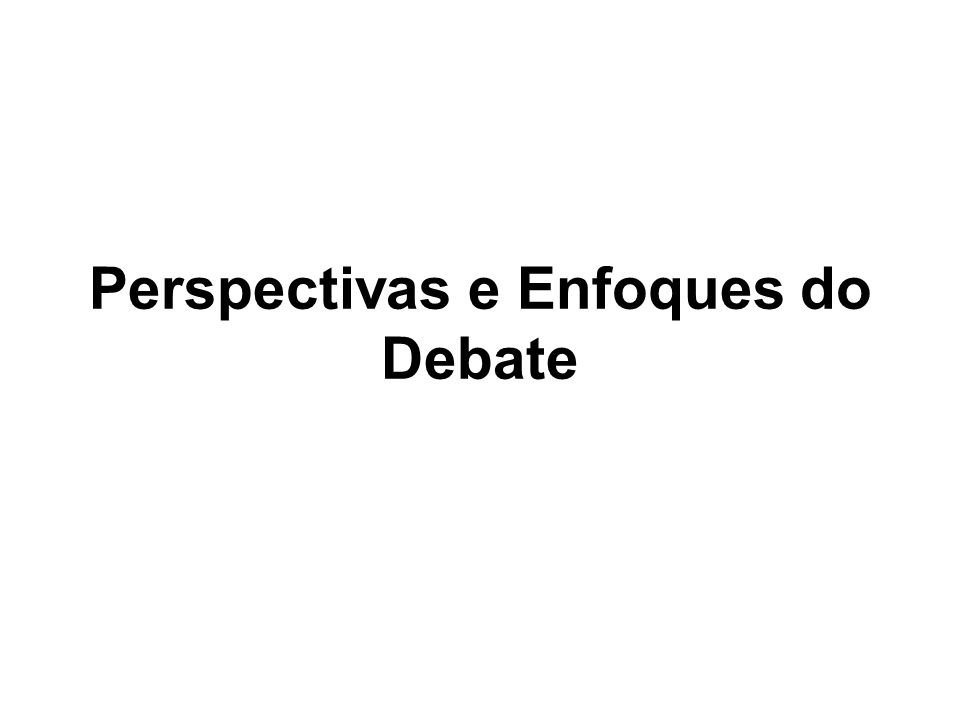 Perspectivas e Enfoques do Debate