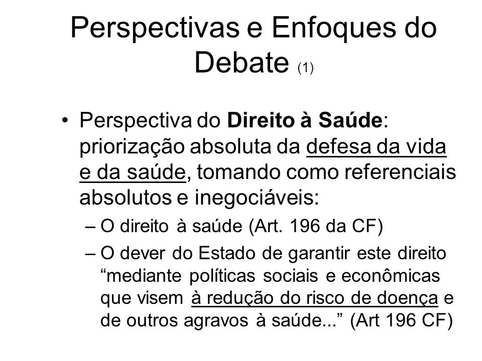 Perspectivas e Enfoques do Debate (1)
